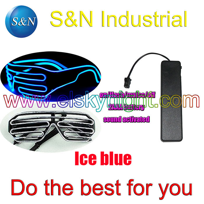KO! Ice Blue EL Wire Glowing Flash Shutter LED Glasses+Battery Box  Sound Activate For DJ Party Christmas Party