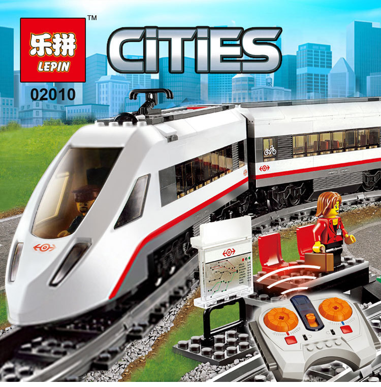 610Pcs Lepin 02010 The High-speed Passenger Train Remote-control Trucks Set Building Blocks Bricks Kits Toys Compatible 60051 lepin 02010 610pcs city series building blocks rc high speed passenger train education bricks toys for children christmas gifts