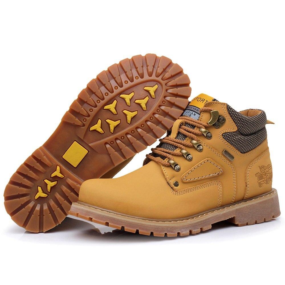 Brown yellow Qiyhong Tamaño 38 dark Botas 44 Yellow Casual Cuero Nuevo Plush dark Los Remaches Brown Marca Otoño Plush Plush Más brown brown Herramientas Zapatos Invierno De Hombres E q4pqawO