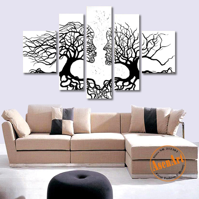 Hand Painted Oil Painting on Canvas Abstract White Women Tree Painting 5pcs  Wall Art Picture for Living Room Home Decor No Frame e3f6b7996
