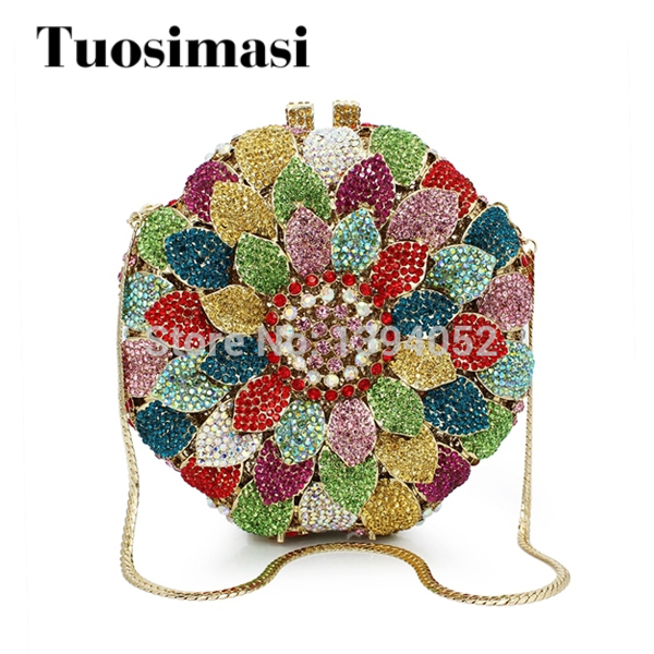 colorful round shape hard box flower crystal ladies clutch purses stone evening party clutch bag (88165A-C) aidocrystal sexy ladies black crystal purses crystal flower pattern clutch evening bag