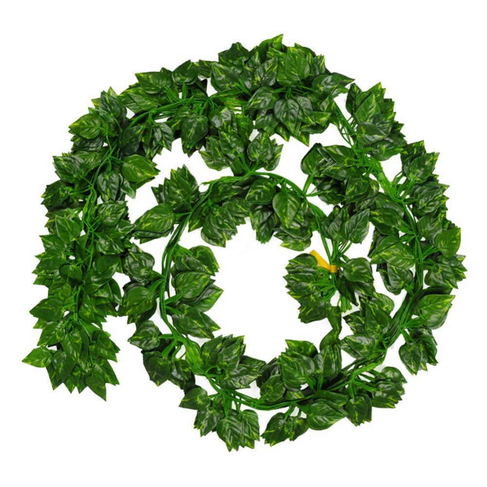 Artificial Flowers 7Feet/pcs Pack of 12pcs Green Hanging Vine Plant Leaves Garland For Party Home Garden Wall Decoration