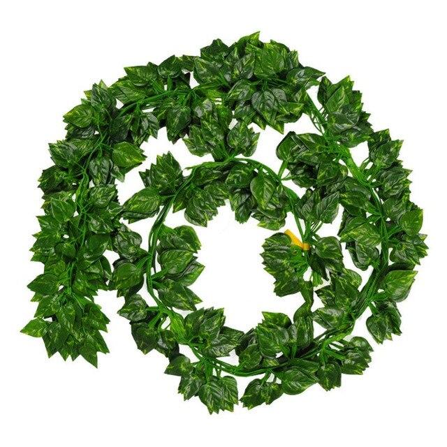 الزهور الاصطناعية 7 قدم/pcs حزمة من 12 قطعة الأخضر شنقا كرمة أوراق النبات جارلاند لحزب الوطن حديقة الجدار الديكور