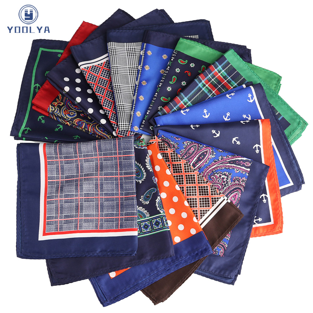 HOT!! 33 X 33CM Mans Polka Dot Plaid Anchor Pocket Square Hankies Chest Towel Big Size Handkerchief For Men's Suit Wedding Party