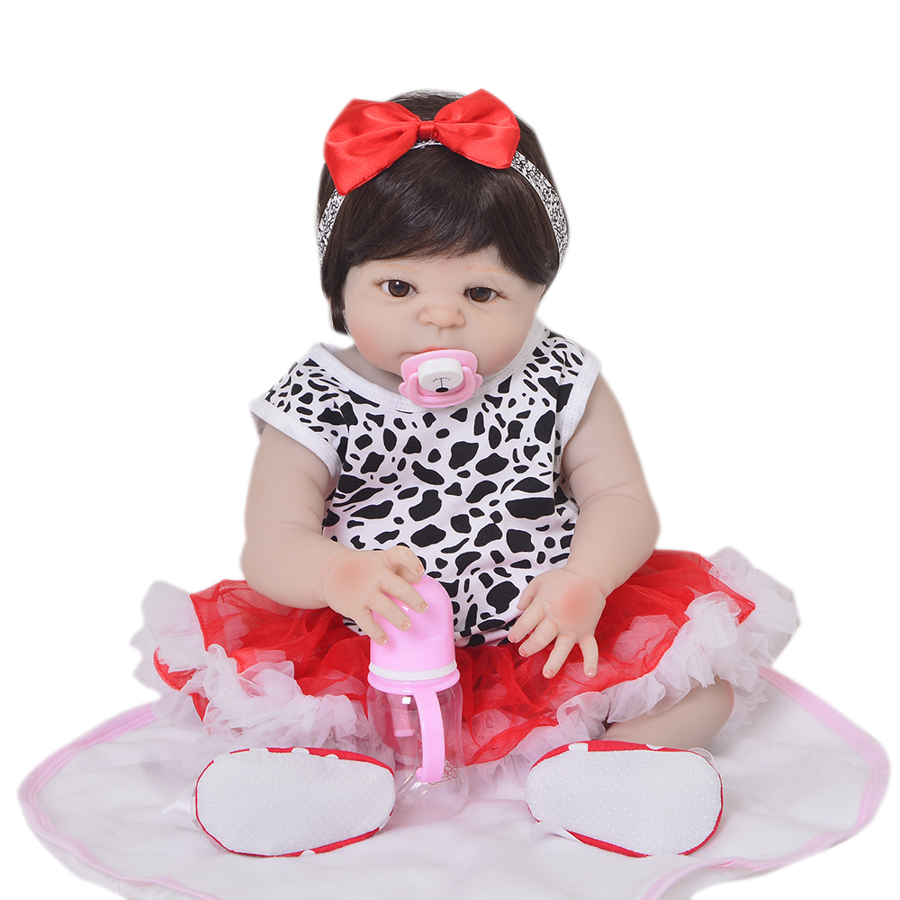 New Arrival 23'' Realistic Reborn Babies Girl Doll Full Silicone Vinyl Lifelike Little Bebe Doll For Kids Birthday Gift Play Toy цена и фото