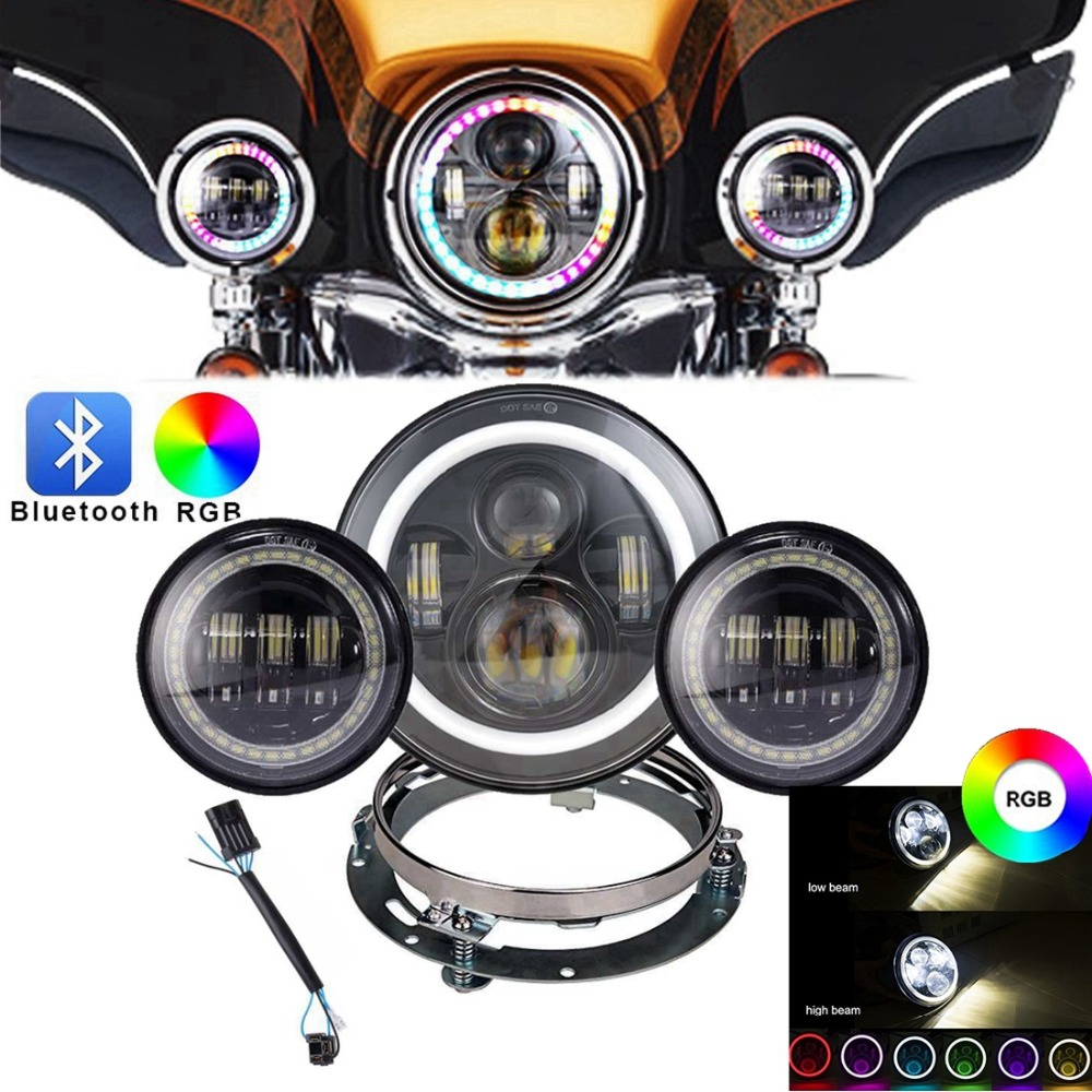 7inch RGB for Harley Daymaker LED Headlight with DRL+ 2x RGB 4.5 30w Fog Light Passing Lamps Fit for Harley Davidson Motorcycle 7inch motorcycle daymaker replacement led headlight