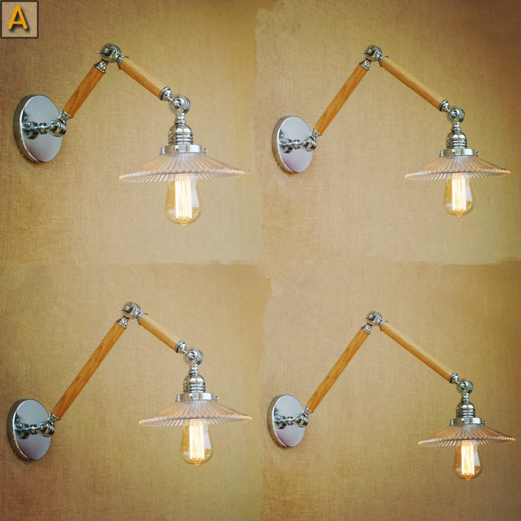 Long Wooden Wall Sconces : Nordic Loft Style Wooden ? Vintage Vintage Wall Light Fixtures ? Swing Swing Long Arm Lamp ...