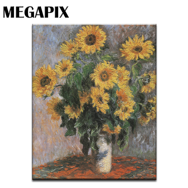 Megapix Impression Painting Wall Canvas Art Sunflowers In Vase Home