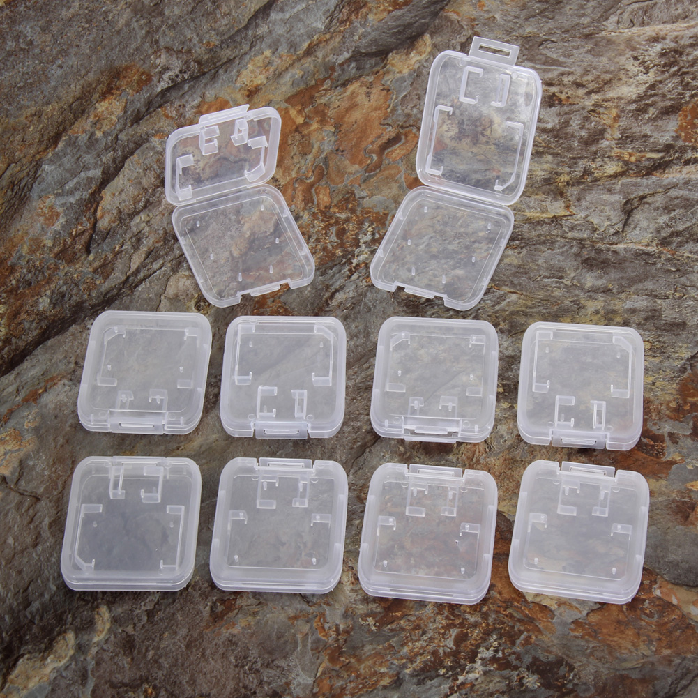 10pcs/lot Transparent Standard SD SDHC Memory Card Case Holder Box Storage New