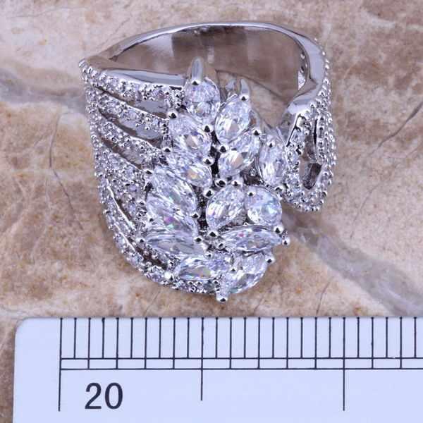 ClassyสีขาวCZแหวนเงินแฟชั่นขนาด 6 / 10 S0186