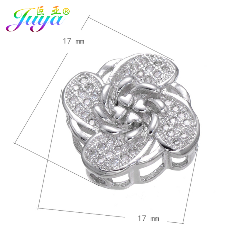 Beaded Jewelry Components Micro Pave Zircon CC Clover Flower Floating Charm Beads Accessories For Beadwork Jewelry DIY Making
