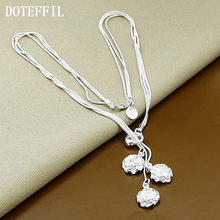Best Selling Neclace Fashion 3 Rose Silver Flower Pendant Necklace 18 Inch Hot Popular Jewelry Necklace Hot Wholesale