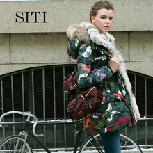 2017 Chrismas women down warm long camouflage coat jacket parka zipper fashion new winter outerwear rabbit fur collar plus thick