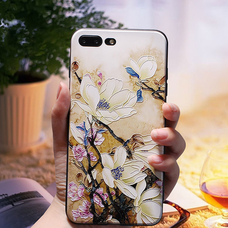 NEW Case 3D Relief Flower Luxury Cases for iPhone 6 6S 7 Plus TPU Silicone Rubber Soft Cover 8 X 5 5S SE