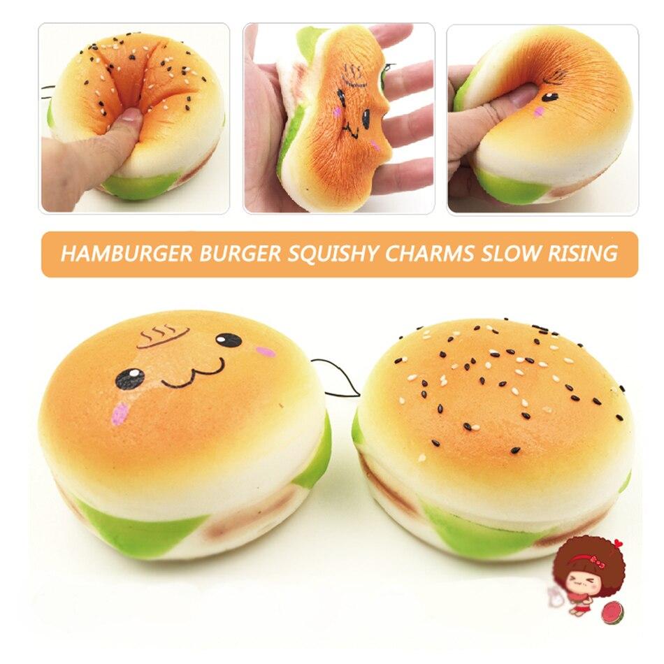 10CM Jumbo Oncen Face Hamburger Burger Squishy Charms Slow Rising Free shipping