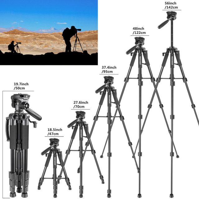 Neewer Camera Tripod Portable 56 inches/142cm Aluminum 3-Way Swivel Pan Head+Carrying Bag for Canon Nikon Sony DSLR Camera 4