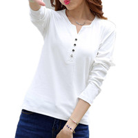 2015 Autumn Winter Fashion T Shirt Women Long Sleeve V Neck Cotton T Shirt Plus Size