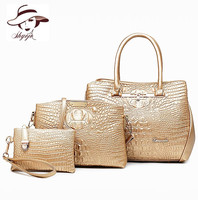 Luxury 3PCS Set Fashion Crocodile Handbag PU Leather Tote Women Shoulder Handbag Ladies Crossbody Bag Messenger