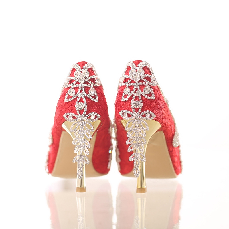 Trueing crystal rhinestone tassel shoes bridal shoes high heeled red thin heels pointed toe wedding shoes