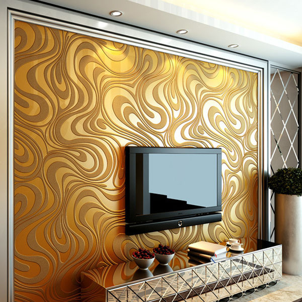 Contemporary Wallpaper Art Deco Simple Style Gold Wall Covering Non Woven Fabric Wallcovering