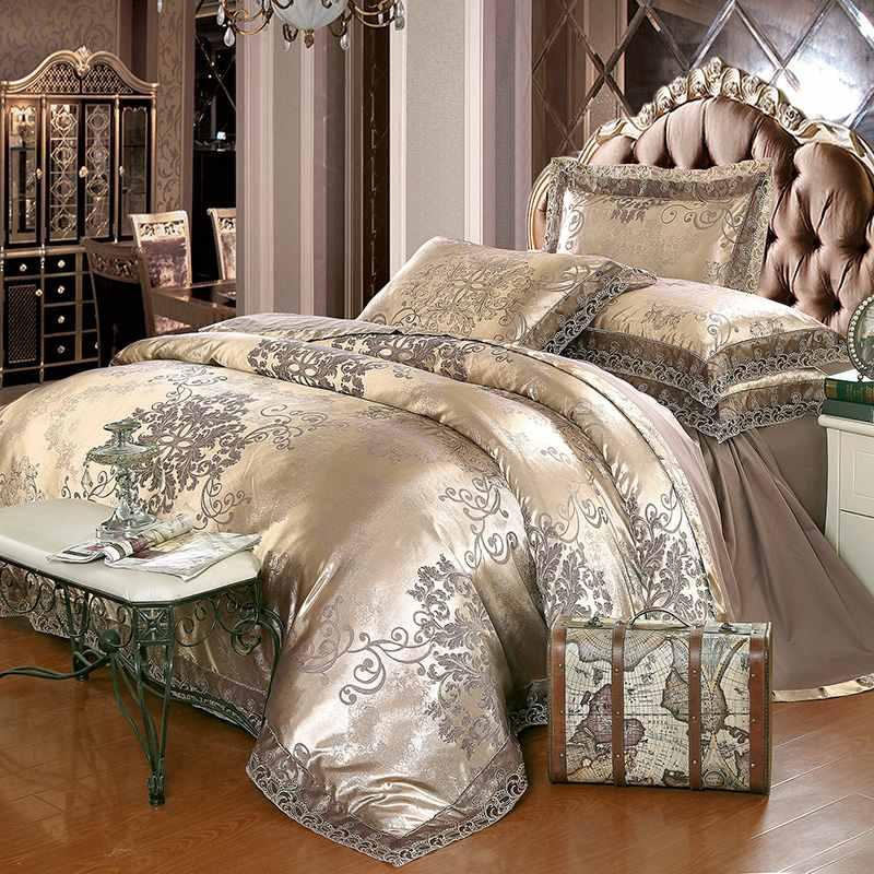 Ev ve Bahçe'ten Yatak Takımları'de Lüks jakarlı yatak Set kral kraliçe boyutu 4/6 pcs yatak keten ipek pamuk nevresim dantel saten yatak levha seti yastık'da  Grup 1