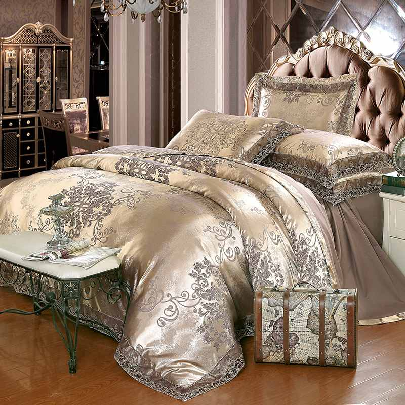 luxury jacquard bedding set king queen size 4pcs bed linen silk cotton duvet cover lace satin - King Size Bed Sheets