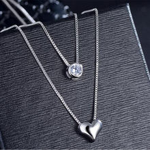 Anenjery 925 Sterling Silver Necklace Double Layer Chain Zircon Heart Pendants Necklaces For Women kolye Choker S-N157(China)