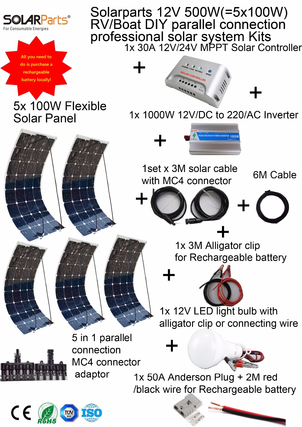 Solarparts 1x500W Professional DIY RV Boat Marine Kit Solar Home System 5x100W flexible solar panel MPPT