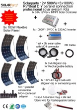 Solarparts 1x500W Professional DIY RV/Boat/Marine Kit Solar Home System 5x100W flexible solar panel MPPT controller Inverter LED