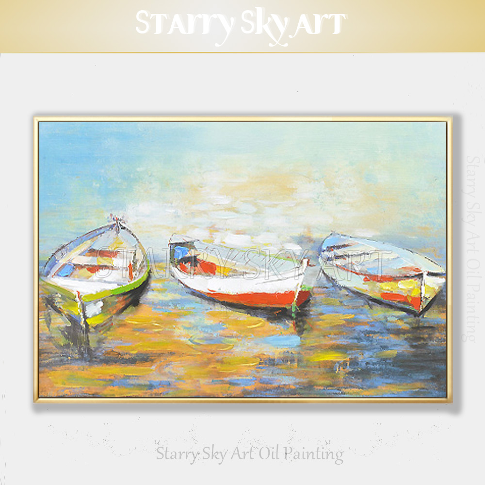 Artist Hand-painted High Quality Fashion Colors Abstract <font><b>Boats</b></font> Acrylic Painting Beautiful <font><b>Knife</b></font> Painting <font><b>Boat</b></font> Picture for Wall image