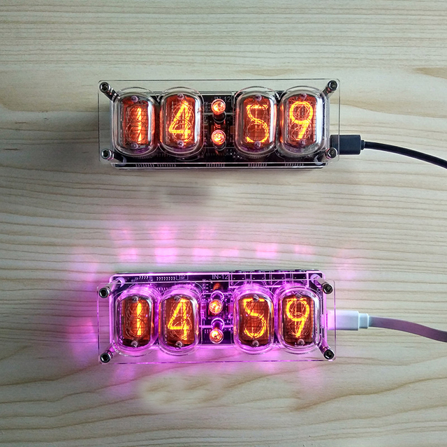4 ビット統合グロー管時計 IN 12A IN 12B 時計グロー管カラフルな LED DS3231 ニキシー時計 LED バックライト新
