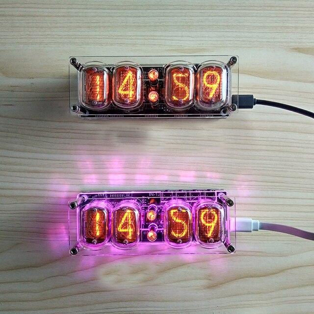 4 ビット統合グロー管時計IN 12A IN 12B時計グロー管カラフルなled DS3231 ニキシー時計ledバックライト
