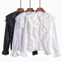Spring Blouse Women 2018 New Lace Crochet Openwork Large Ruffles Bow Neck Flare Sleeve Solid Color