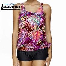 Leaf Print Two Piece Tankini Swimsuits Women with Shorts Large Size Swimwear Big Cup Bathing Suit Plus Size Female Beachwear 4XL plus size palm leaf floral print tankini