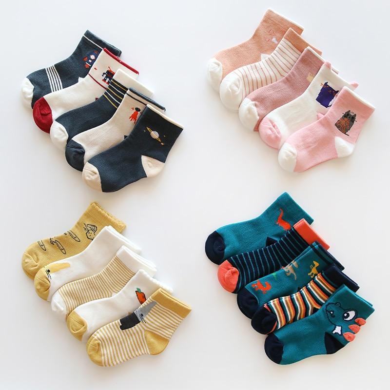 5 Pairs Baby Child Girls Boys Kids Dinosaur Space Cartoon Cotton Warm Socks 1-5Y