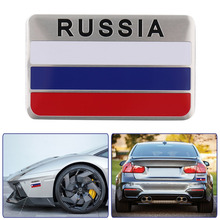 Car-stylinG 3D Aluminum Russian Flag Pattern Square Car Stickers Decal Car Window Door For Chevrolet for Skoda for Honda New Hot