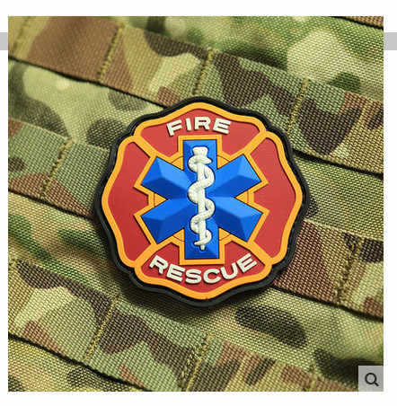 Fire & Rescue 3D PVC Ems Medis Merah Biru Cross Moral Warna Patch Fire Rescue Maltese Salib Bintang Hidup PVC Moral Patch Lencana