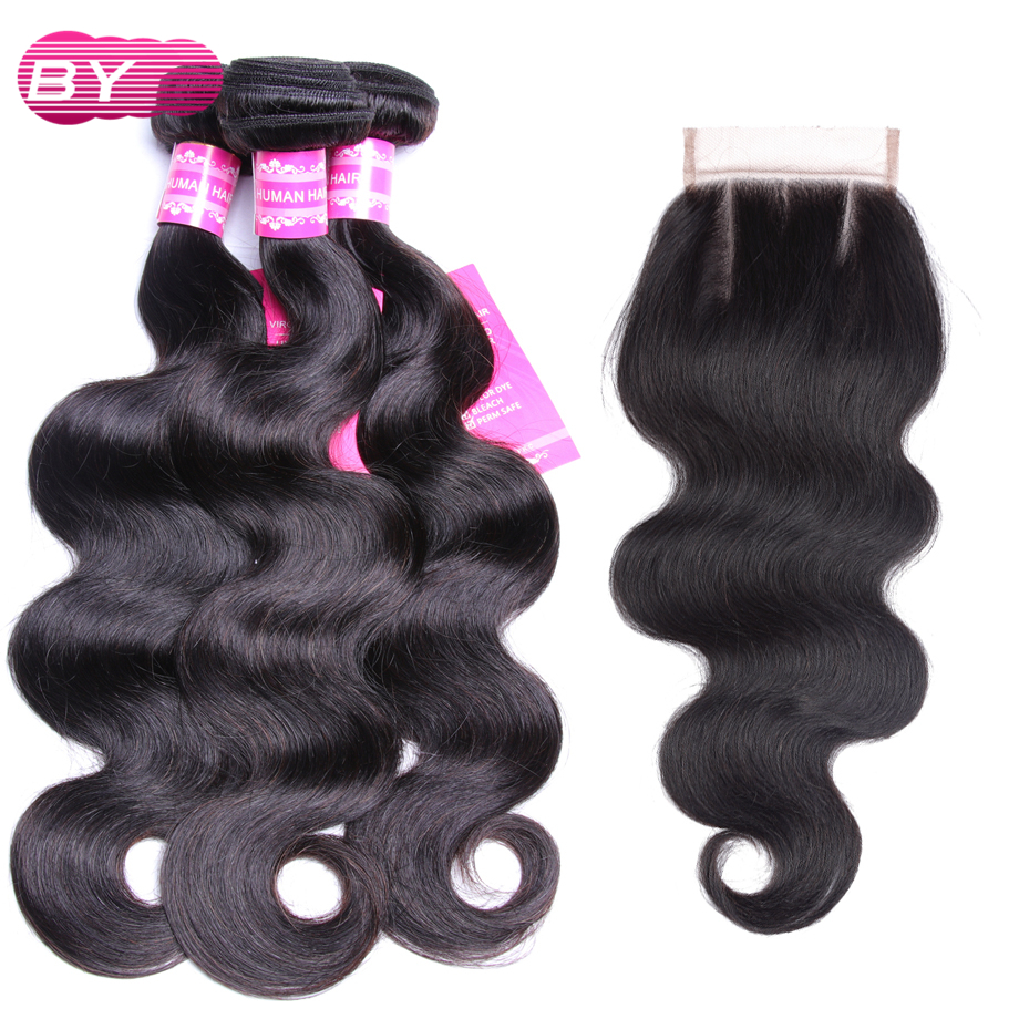 BY Peruvian Human Hair Body Wave 3 Bundles With 4x4 Lace Closure Three Part Non Remy