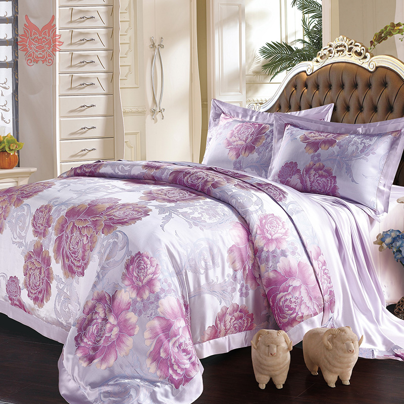 american style floral jacquard 22mm 100 silk bedding set housse de couette duvet cover set bed. Black Bedroom Furniture Sets. Home Design Ideas