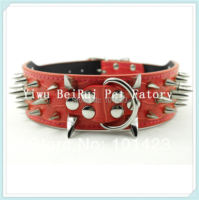 Free Shipping 2inch Width Berry Real Leather Pitbull Large Dogs sharp Spikes Collar