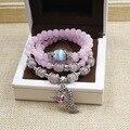 Fox pingente do vintage quartzo rosa artesanal frisado multi - camada charme pulseiras pedra natural pulseiras de prata antigo para as mulheres