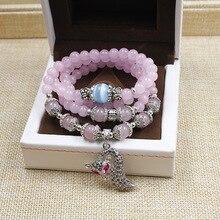 Zorro pendientes vintage cuarzo rosa hechos a mano con cuentas multi capa pulseras del encanto piedra natural pulseras de plata antiguo para mujeres