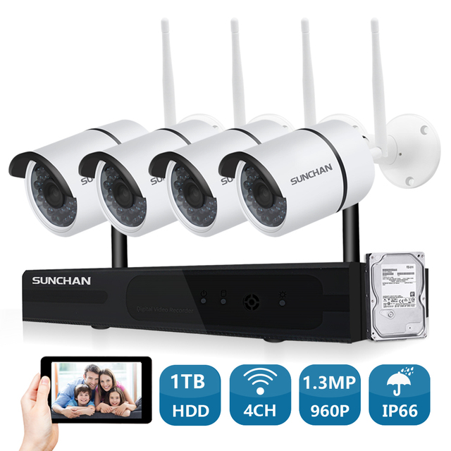 SUNCHAN Plug and Play HD 4CH NVR 960P Wireless CCTV System Outdoor ...