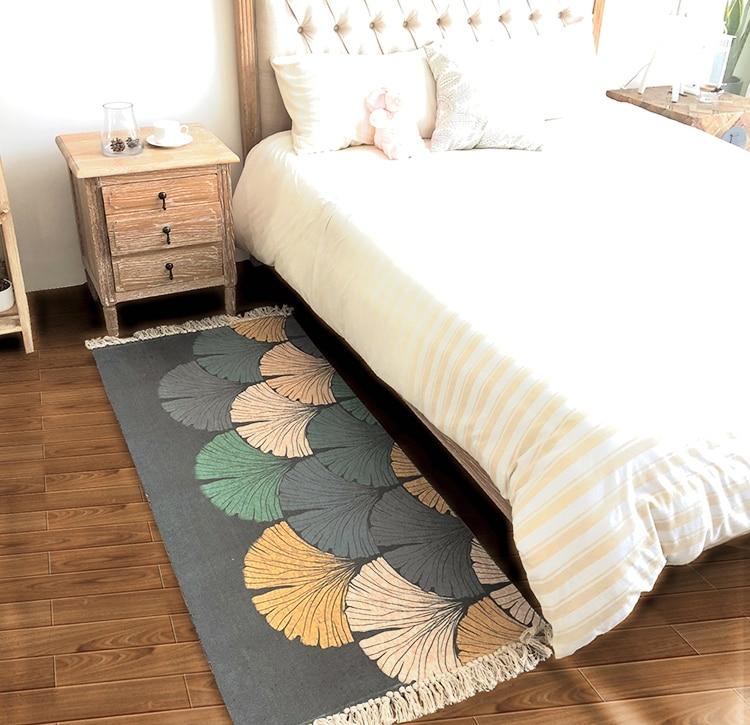 Tapis tissé nordique 70*160 cm devant le lit tapis de sol rectangulaire avec tapis de chevet Tatami lavable en Machine - 3