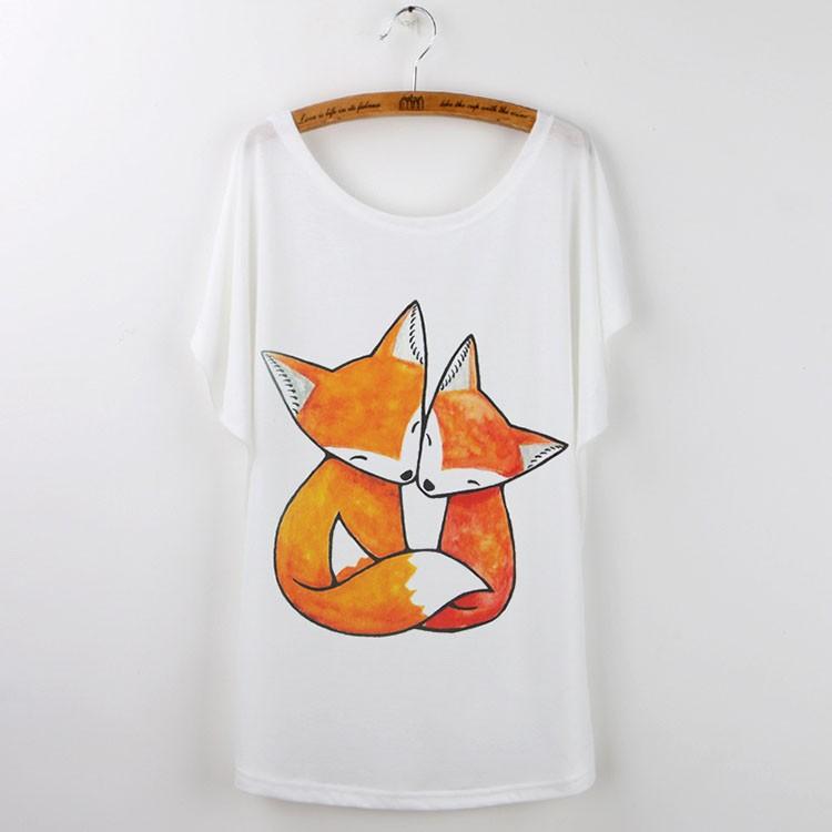 HTB1woRLJVXXXXaRXpXXq6xXFXXXe - Cute Fox Short Sleeve White T Shirt Camiseta Feminina Tee