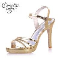 Creativesugar lakierki szpilki sandały metallic złoto srebro royal blue wysokie obcasy platformy sandały dla party pokaz mody