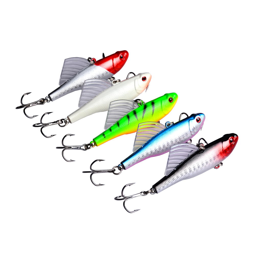 55pcs Fishing Hard Lures Hooks Crankbait Squid Minnow Popper VIB Shrimp Spinner