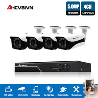 AHCVBIVN H.265 4CH 5MP AHD DVR Kit CCTV Camera System 4PCS 5.0MP Security Camera IP67 Outdoor Video Surveillance System APP View