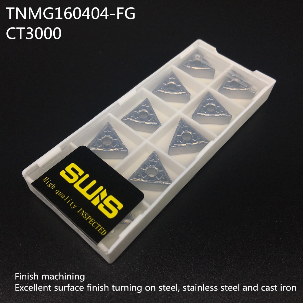 10 Pcs CNC Carbide Inserts Blades TNMG160404 for Lathe Turning Boring Tool US