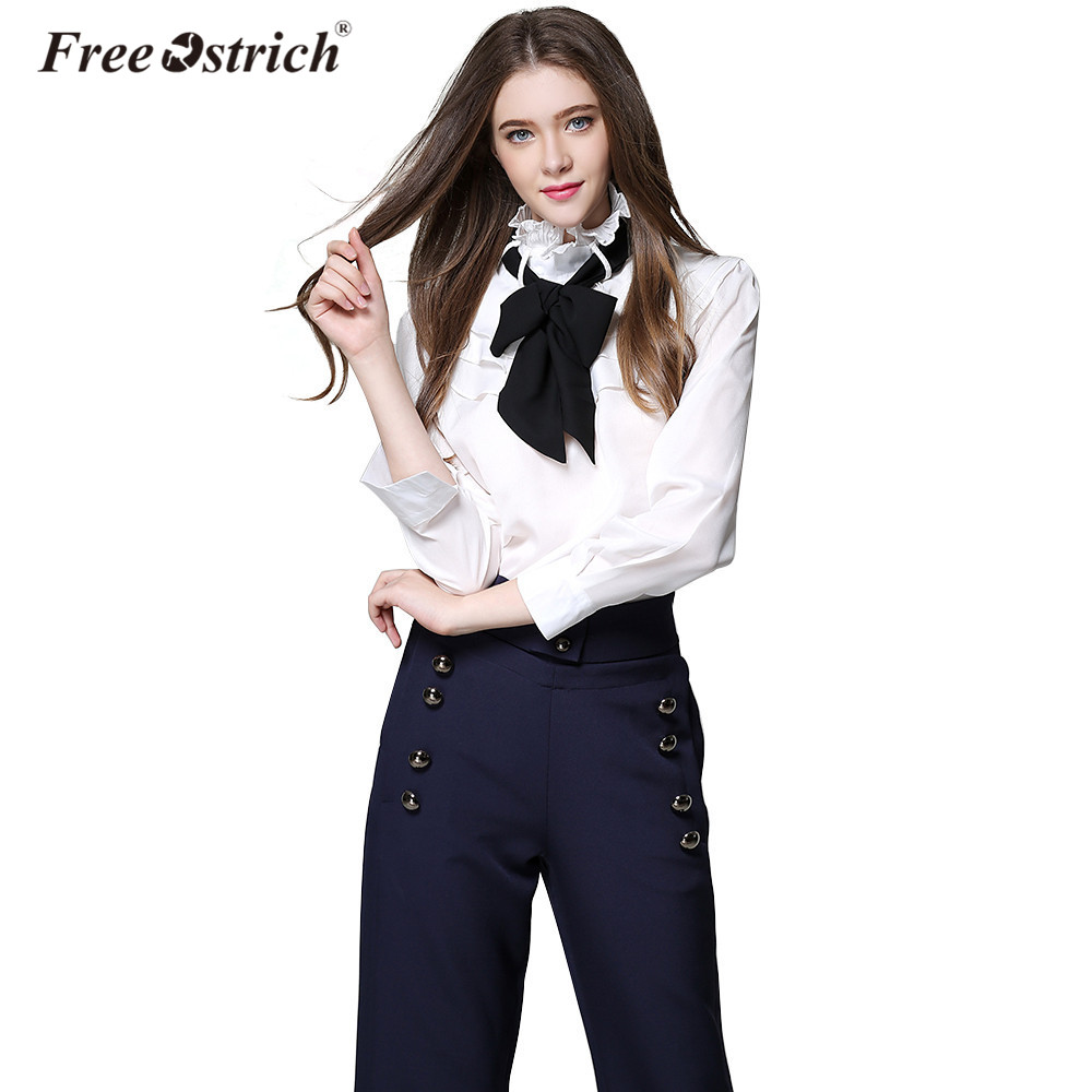 5bd5cc7a3e94 Free Ostrich Womens Blouses Fashion Autumn Summer 2019 White Black Long  Sleeve Office Ladies Women Shirts